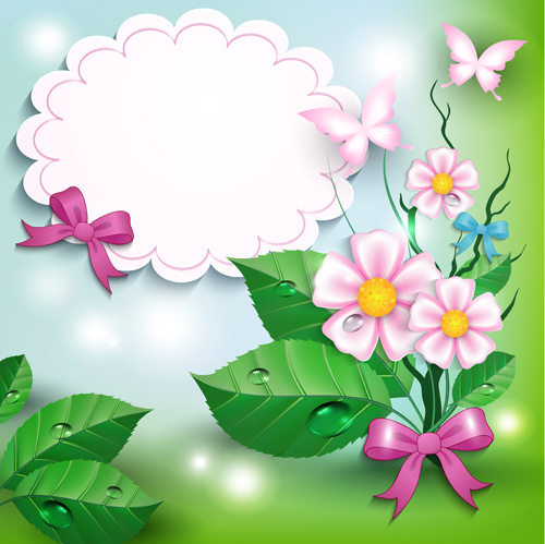 Flowers Trees Butterflies Borders Free Vector Download