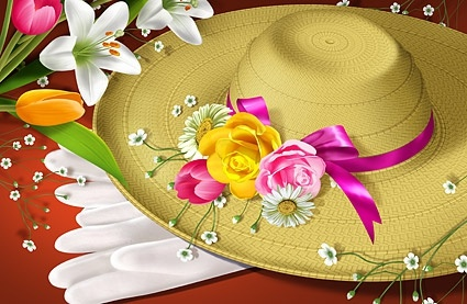 flowers and hats psd layered
