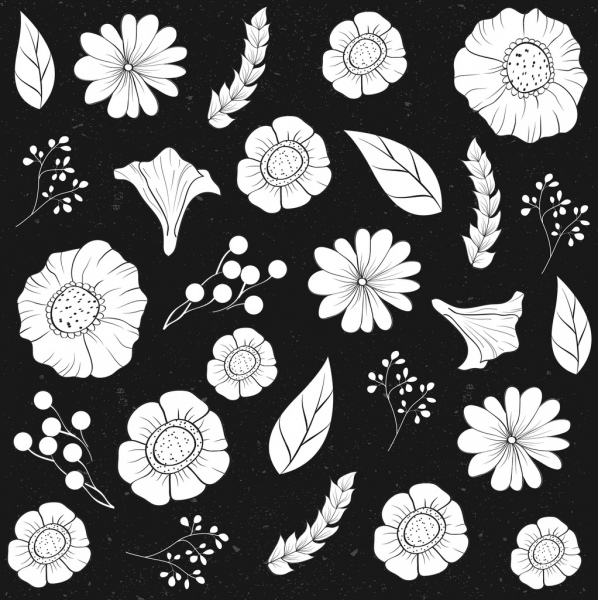 flowers background classical black white decor