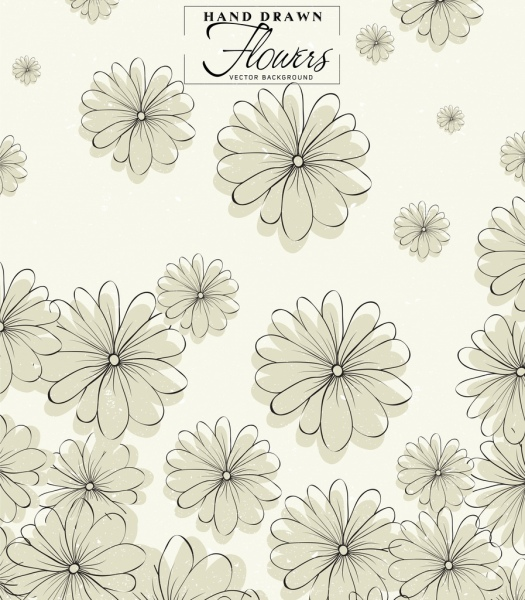 flowers background classical handdrawn outline