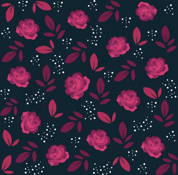 flowers background red rose icons repeating design