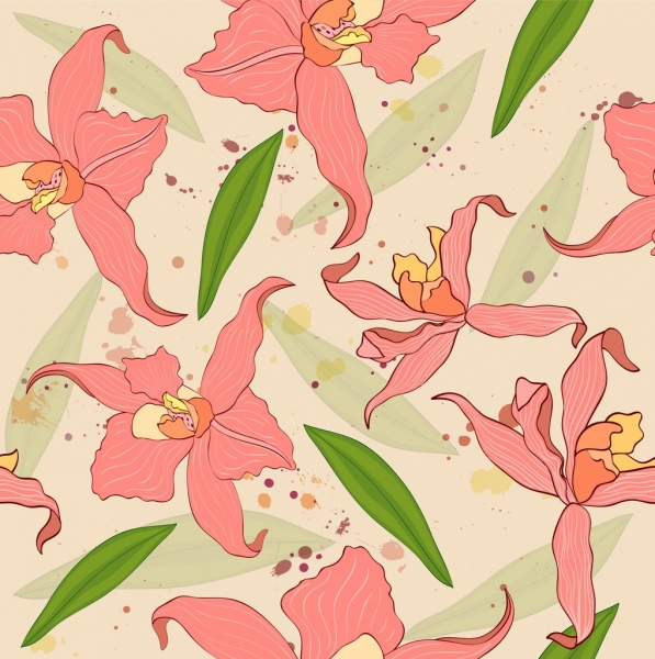 flowers background repeating classical design