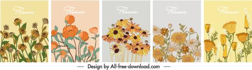 flowers background templates elegant classical handdrawn sketch