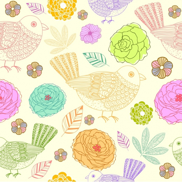 flowers birds background colorful hand drawn design