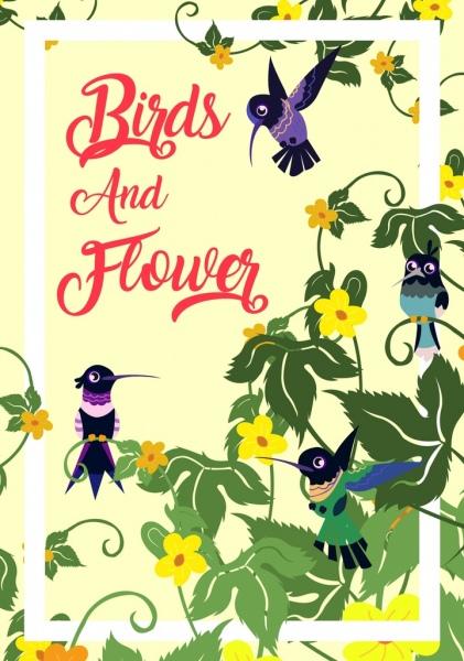 flowers birds background woodpecker icons cartoon design