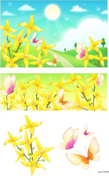 flowers butterflies landscape vector