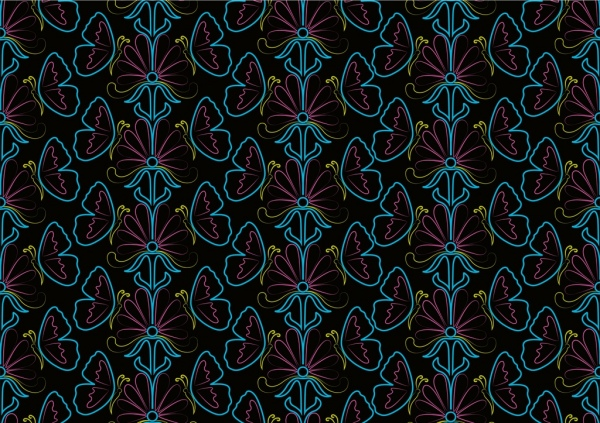 flowers butterflies pattern outline colorful repeating design