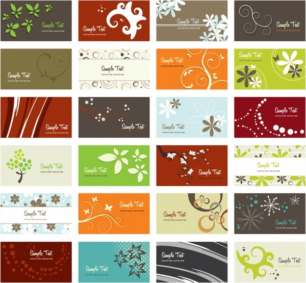 card templates nature theme leaf tree flowers icons