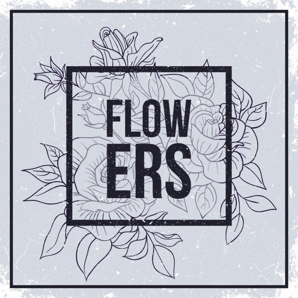 flowers drawing retro black white sketch