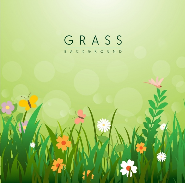 Flowers Grass Background Template Colorful Cartoon Decoration
