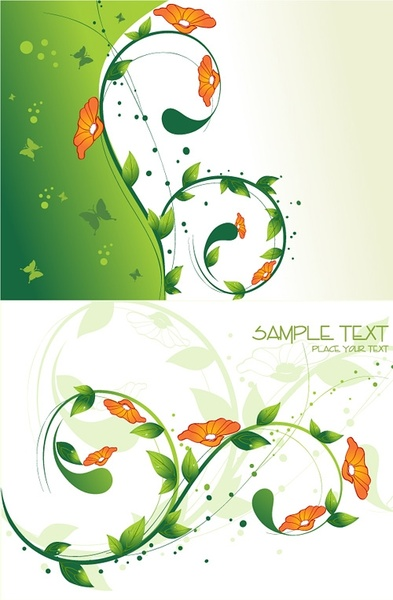 flowers green leaves background vector