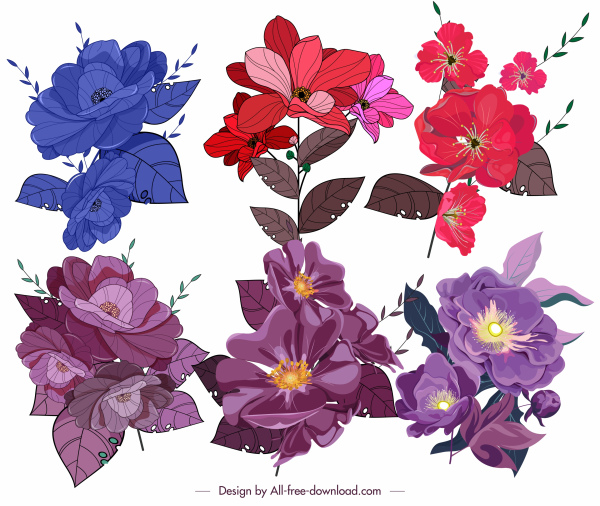 flowers icons colored classical design