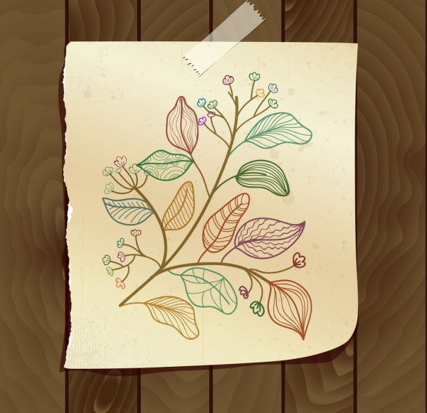 flowers leaves drawing colorful handdrawn sketch