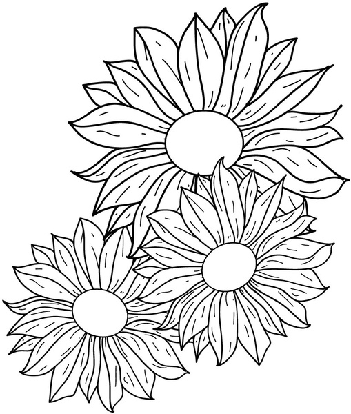 Line Drawing Name : Flowers line drawing free vector in adobe illustrator ai