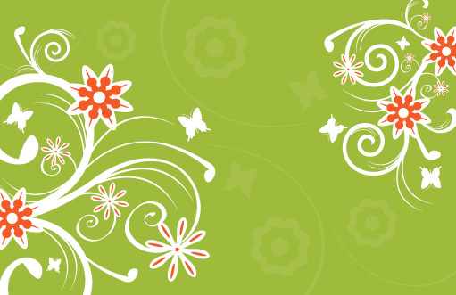 flowers on green vector