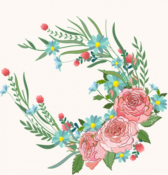 Flowers Painting Colorful Decoration Rose Leaf Icons Free Vector In