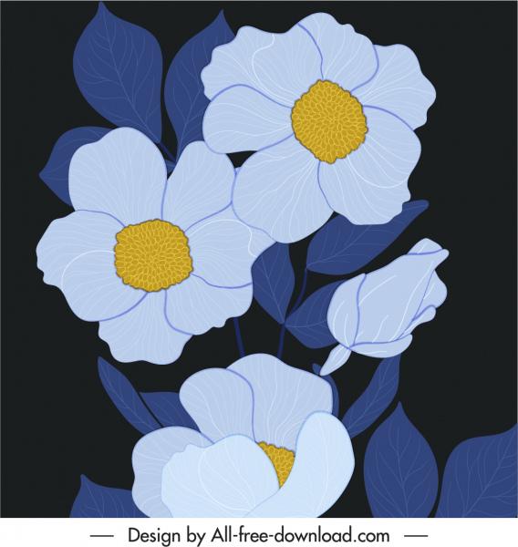 flowers painting dark classical handdrawn design