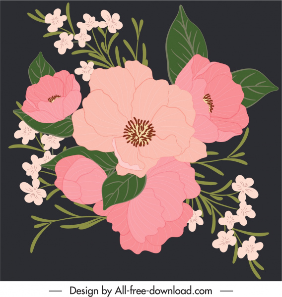 flowers painting elegant dark classical handdrawn