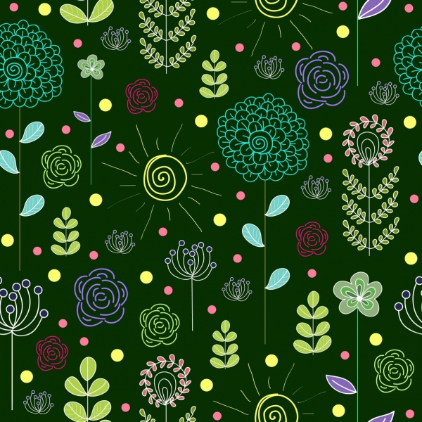 flowers pattern background colorful hand drawn decoration