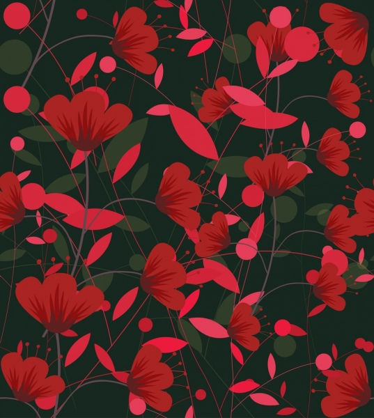 flowers pattern classical dark red design