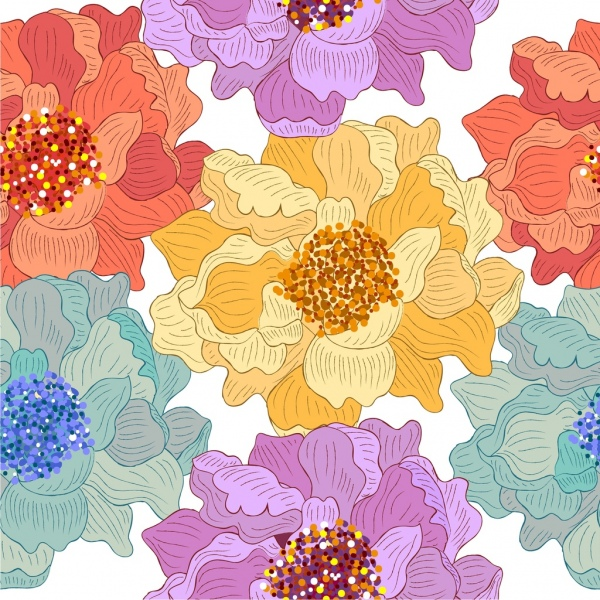 flowers pattern colorful classical decor