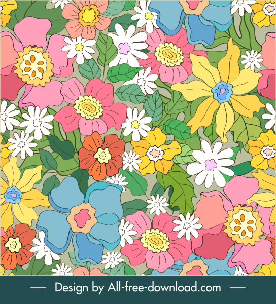 flowers pattern template colorful flat handdrawn design