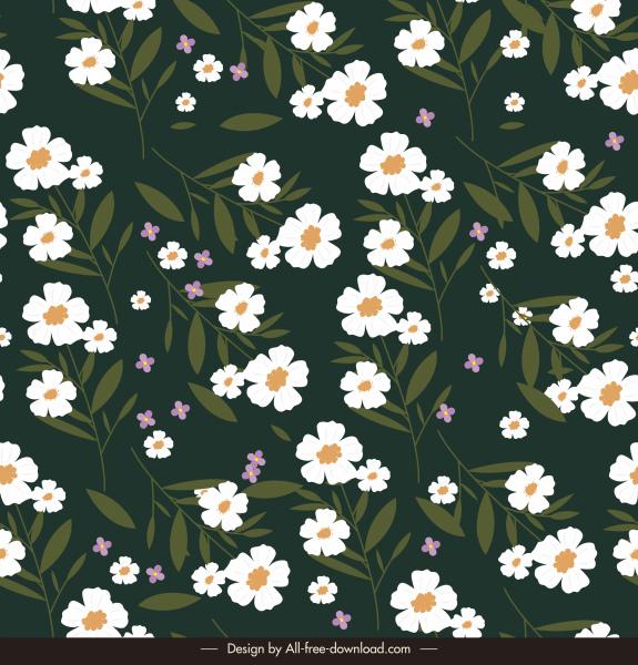 flowers pattern template dark design elegant classic petals
