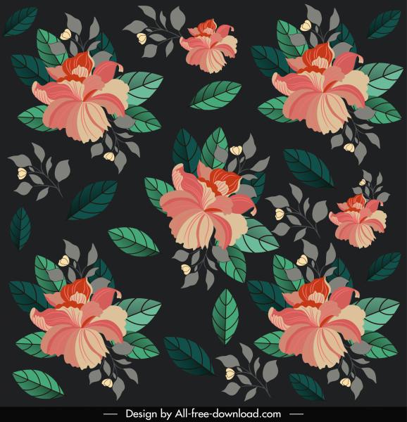 flowers pattern template dark elegant classical decor