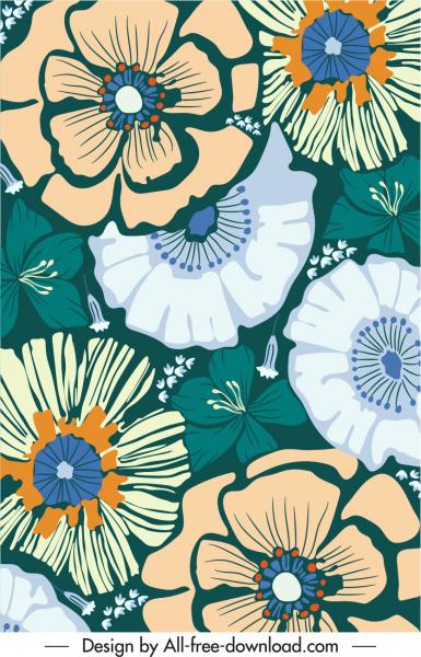 flowers pattern template flat retro handdrawn petals sketch