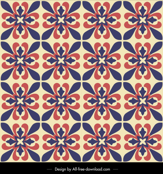 flowers pattern template retro symmetrical repeat design