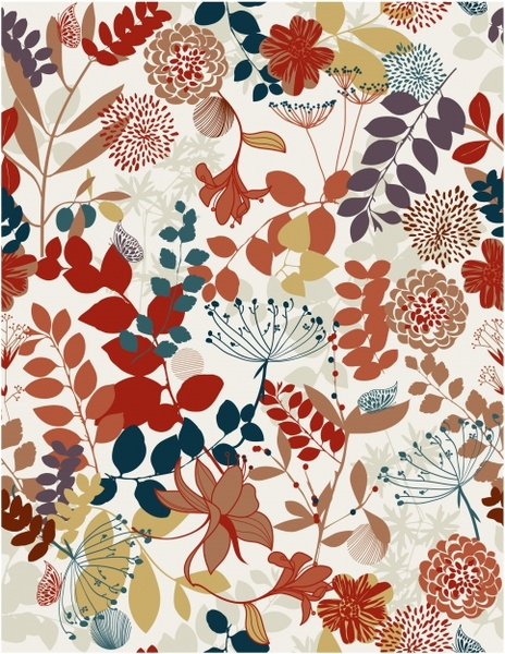 flowers pattern template colorful classical decor