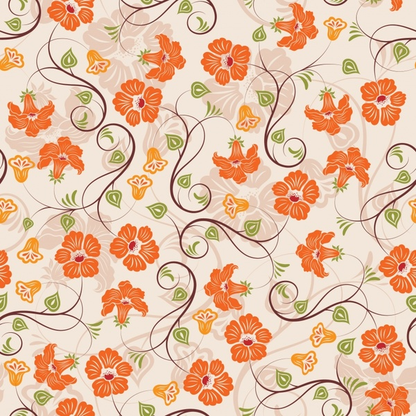 flowers pattern template colored classical design curves ornament