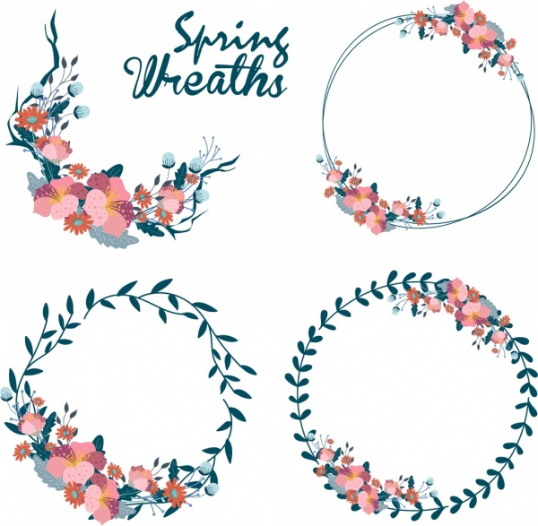 flowers wreath design elements classical decor