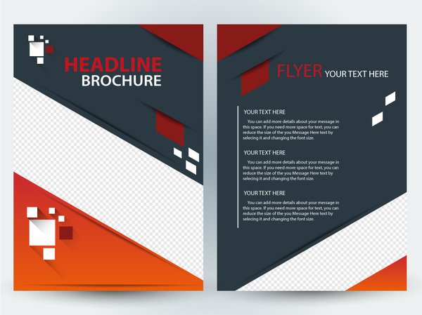 flyer brochure template design with diagonal illustration free