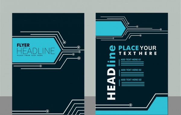 flyer cover design technology style background decoration