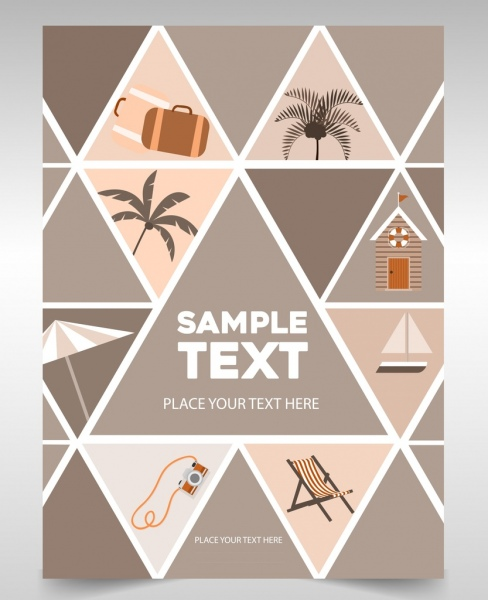 flyer cover template beach theme triangles isolation