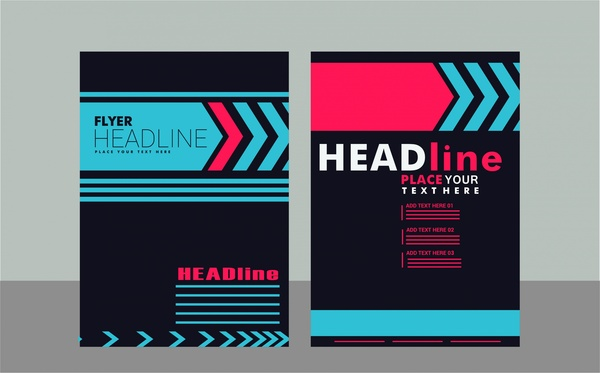 flyer design sets arrow styles on dark background