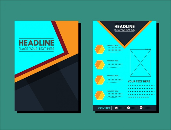 Flyer Design Template Layout In Dark Color Free Vector In Adobe