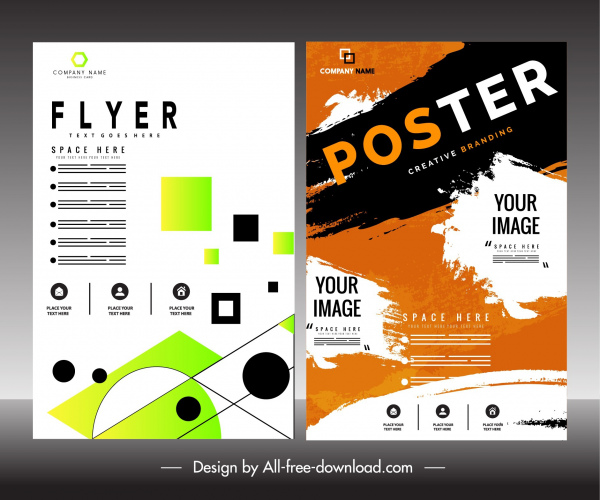 Flyer poster templates colorful modern retro decor Free