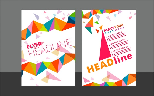 flyer sets colorful triangles design on white background free vector