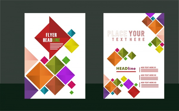flyer sets design geometric style on white background