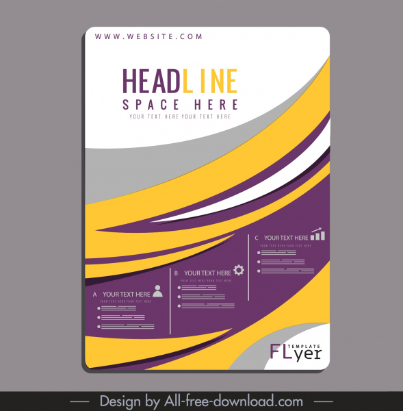 flyer template colorful flat curves decor
