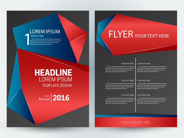Flyer Template Design With Abstract D Dark Background Free Vector - 3d brochure template