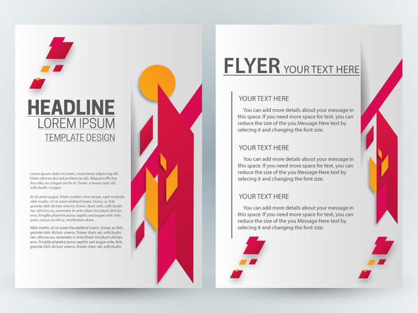 flyer template design with abstract bright illustration