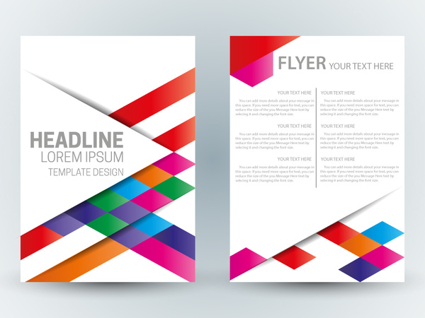 flyer template design with abstract colorful bright background free