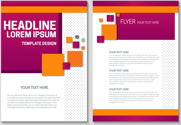 flyer template design with colorful geometric background free vector