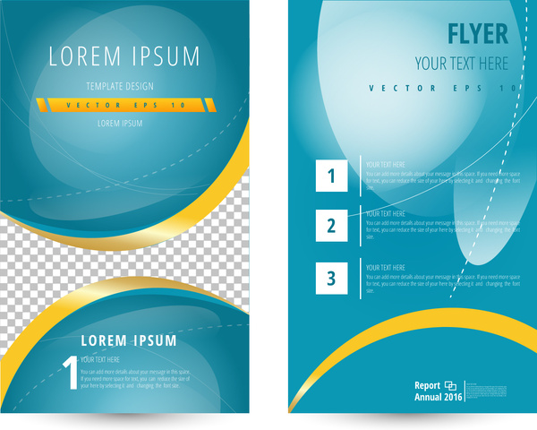 flyer template design with curves and blue background free vector in