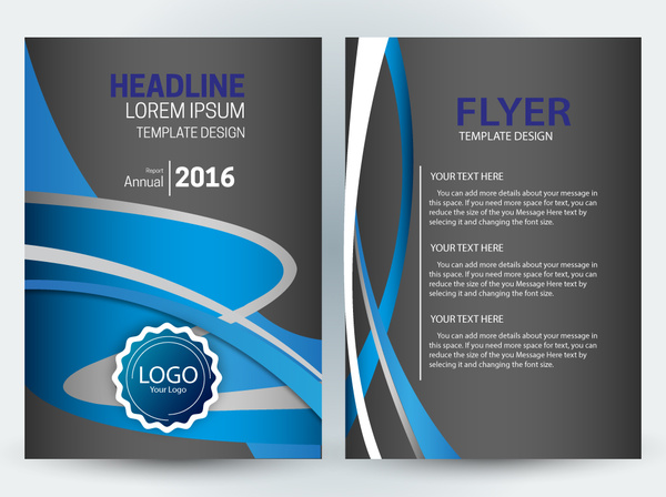 flyer template design with dark and curves background free vector in