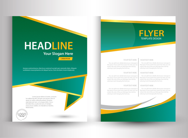 flyer template design with green and white color free vector in
