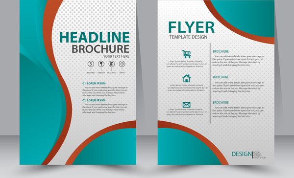 flyer template design with green curves illustration free vector in